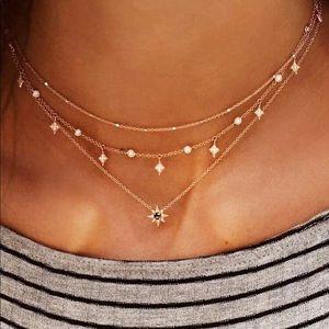 Rhinestone Star Charm Layer Necklace
